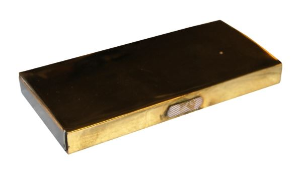 Brass Box Fireplace Match Holder with Striking Strips (Matches Included)